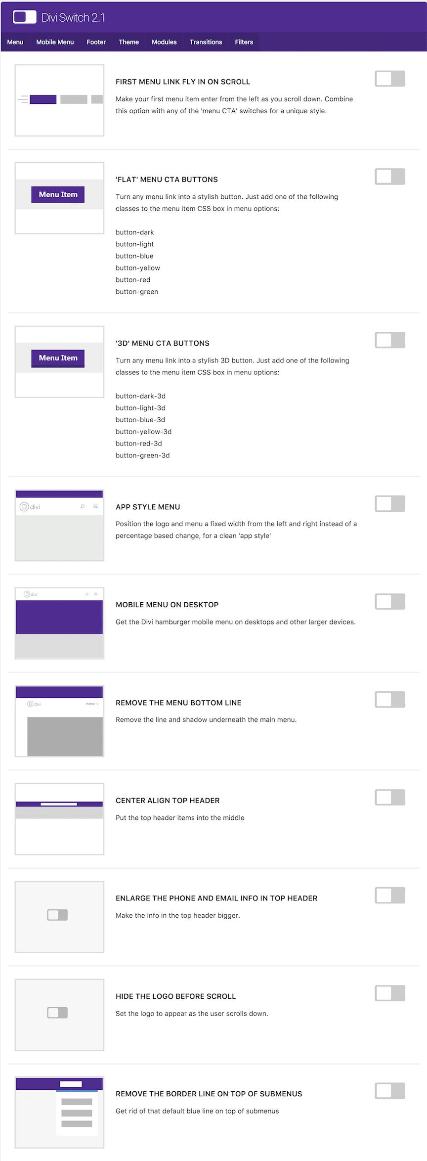 menu divi switch