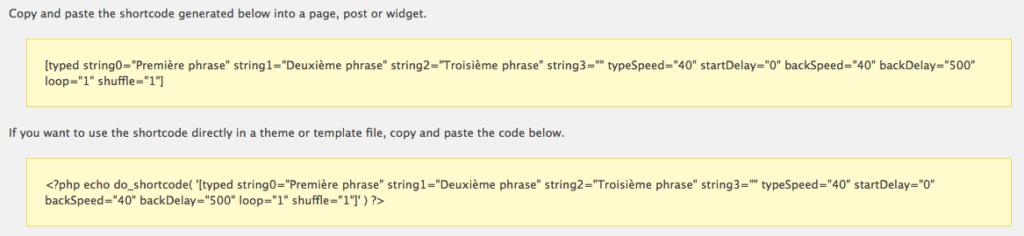 Génére shortcode effet texte machine à écrire pour Divi