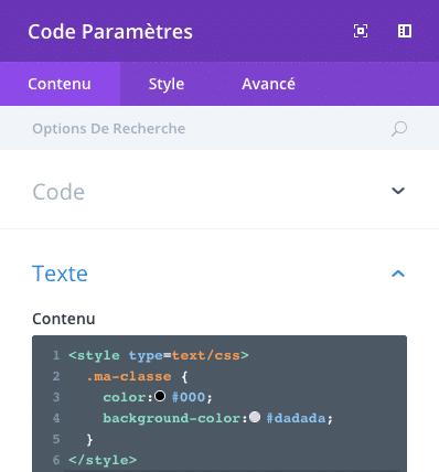 Ajouter des styles CSS dans un module code de Divi