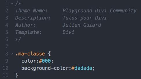 Ajouter des styles CSS dans le fichier style.css d'un thème enfant pour Divi