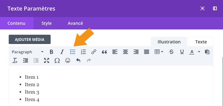 """Insérer une liste dans un module """"Texte"""" dans Divi"""