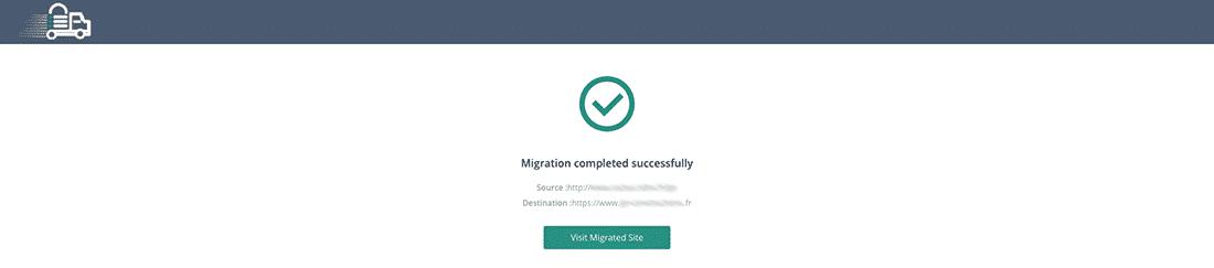 Confirmation migration réussie avec Migrate Guru