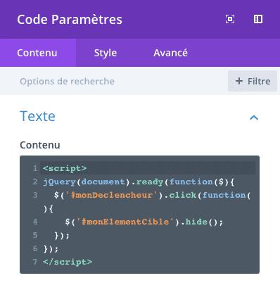 Ajouter du code jQuery dans le module code de Divi