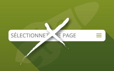 Modifier le libellé «sélectionner une page» du menu mobile centré de Divi