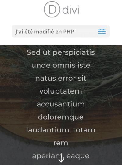 Modifier le libellé du menu mobile centré de Divi avec PHP