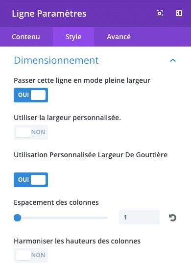 Paramétrer les options de largeur d'une ligne dans Divi