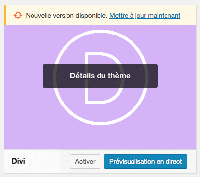 Mettre à jour sa version du thème Divi dans l'admin de WordPress