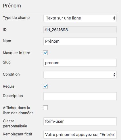 Configuration du champ prénom du formulaire de type chatbot