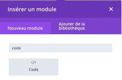 Ajouter un module code Divi pour insérer du jQuery pour le formulaire de type chatbot