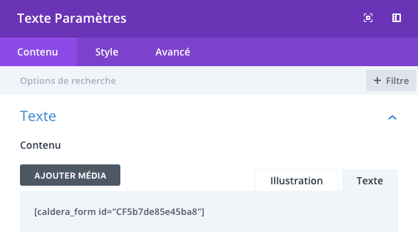Ajouter un module texte Divi pour insérer le formulaire de type chatbot