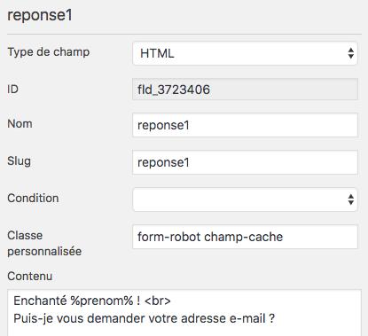 Configuration du champ HTML du formulaire de type chatbot avec magic tag