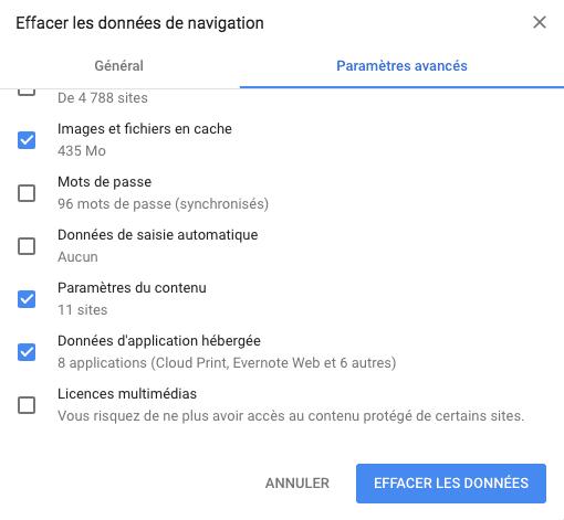Vider le cache du navigateur Chrome