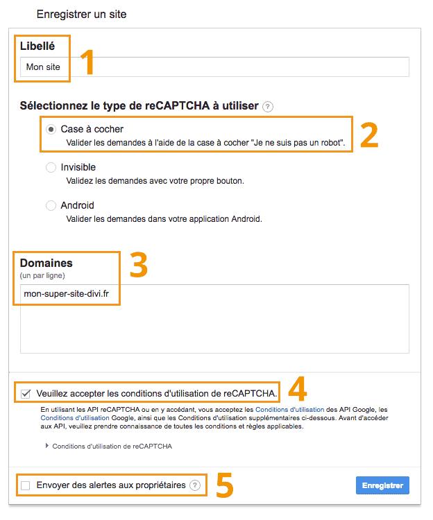 Divi Community - Enregistrer un site pour Google Recaptcha