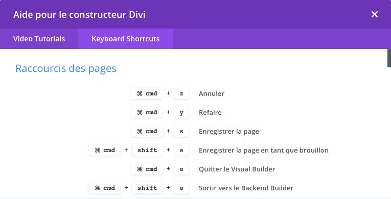 Utiliser les raccourcis clavier du Divi Builder