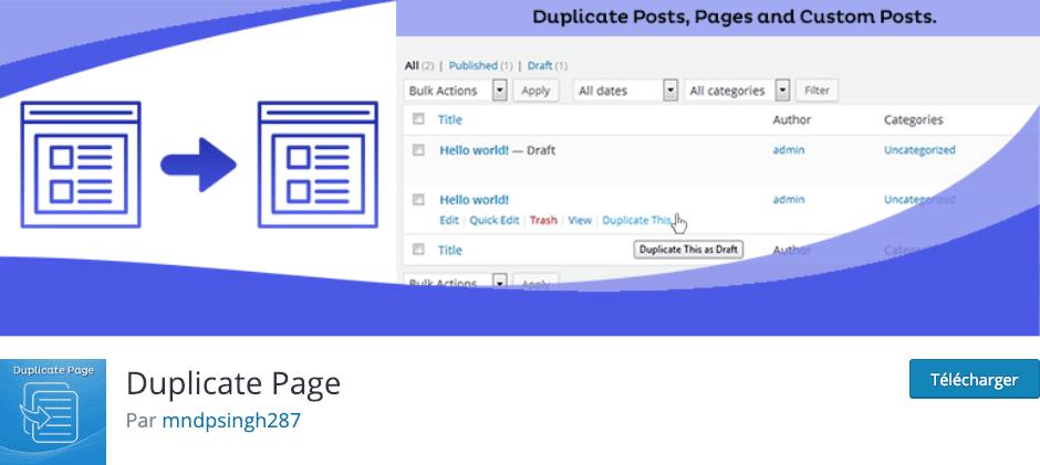Téléchargez le plugin Duplicate Page pour dupliquer vos pages et articles Divi