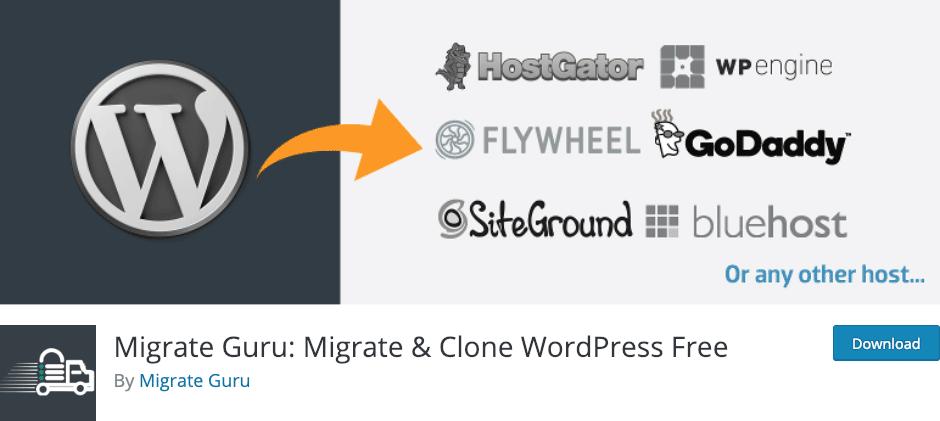 Clonez en ligne vos sites Divi avec le plugin Migrate Guru.