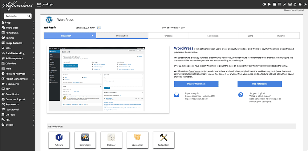 Le cPanel d'o2switch propose Softaculous