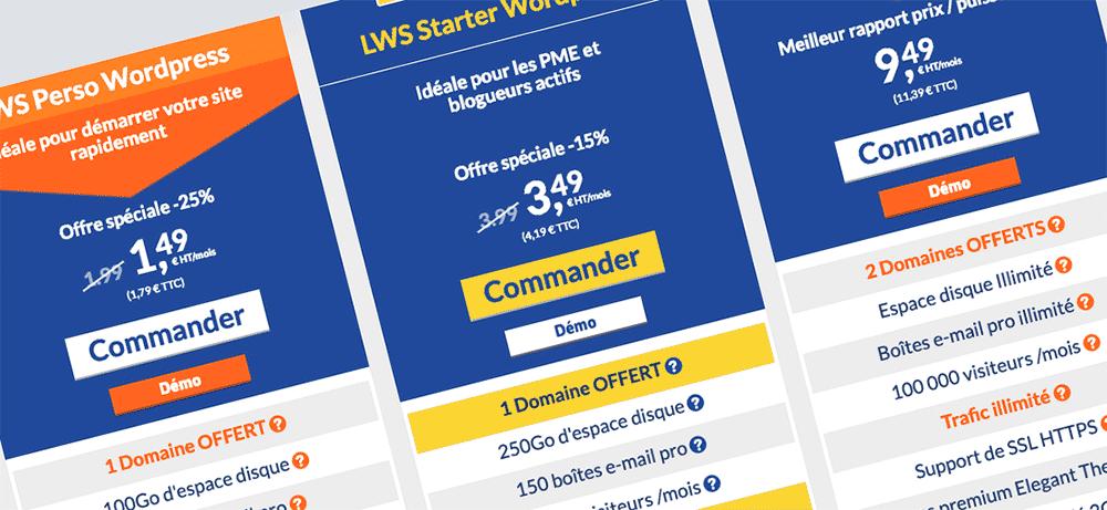 Les tarifs d'hébergement chez LWS
