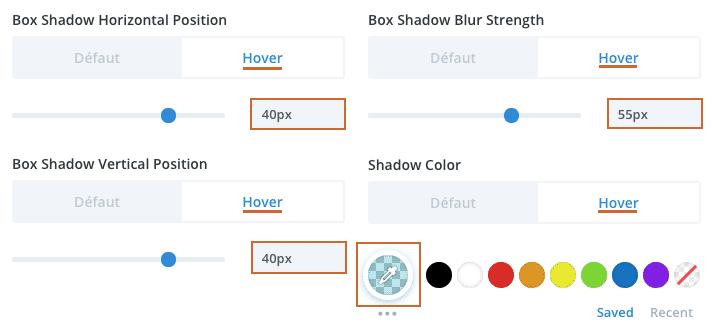Configurez l'ombre portée d'une ligne dans le Divi Builder