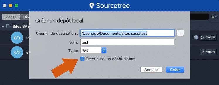 Créer un dépôt local git avec Sourcetree