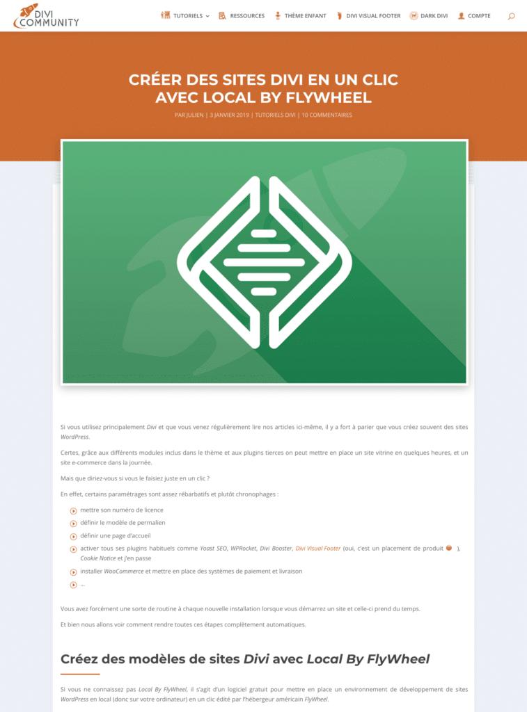 Exemple de mise en page d'article avec le plugin Divi Ultimate Blog