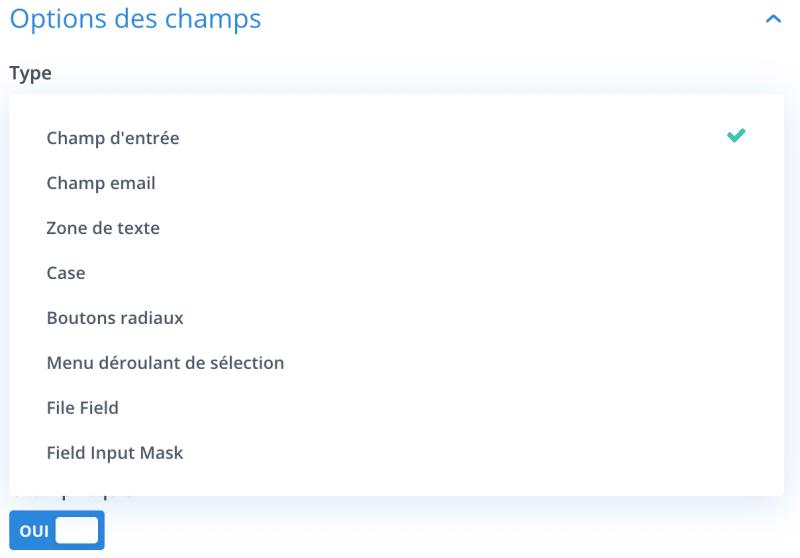 Les types de champs apportés par Divi Contact Extended