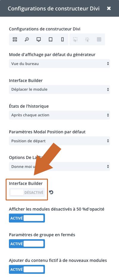 Fenêtre modale des paramètres du Divi Visual Builder