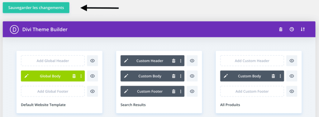 Pensez à enregistrer vos modifications effectuées dans le Theme Builder de Divi 4