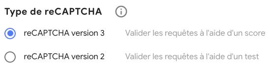 Choisir Google reCaptcha v3