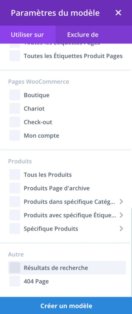 Créer un template dans le Theme Builder de Divi pour la page de résutats de recherche