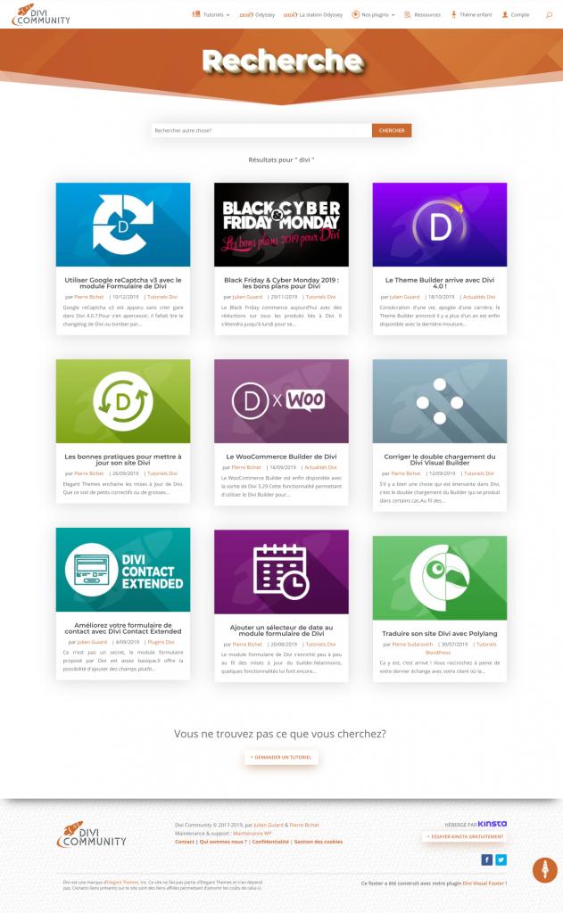 La nouvelle page de résulats de recherche de Divi Community