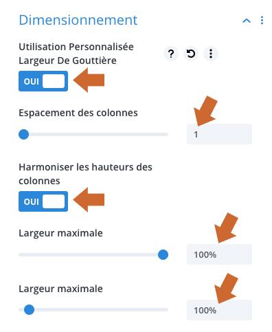 Modifier les dimensions d'une ligne dans le Divi Builder