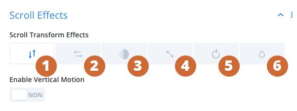 Les différents effets au scroll de Divi