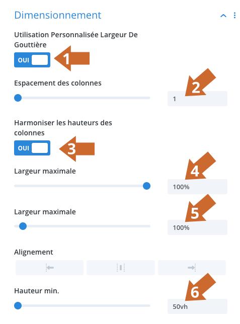 Paramétrages de dimensionnement d'une ligne dans Divi