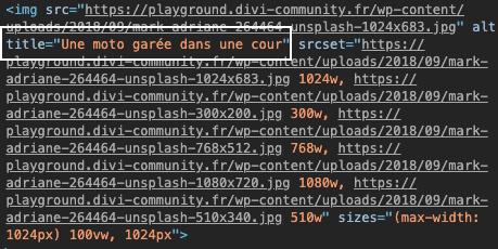 """La présence de l'attribut """"title"""" de la balise 'image' dans le code html de la page"""