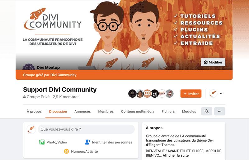Le groupe d'entraide Facebook de Divi Community