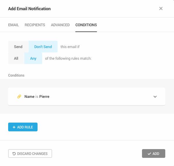 Les conditions d'envoi des notifications de Forminator