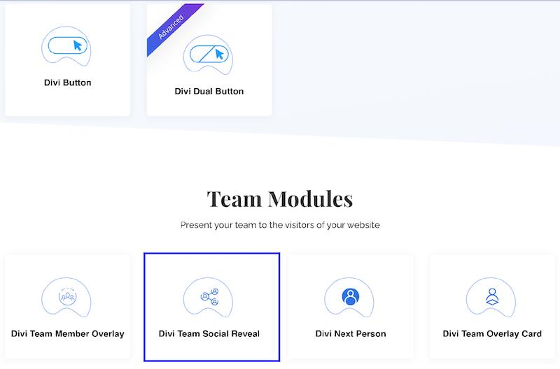 Cherchez les modules sur divi essential