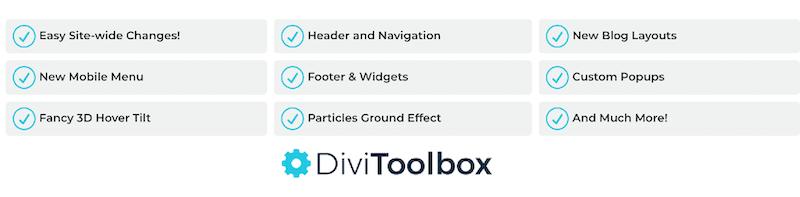 Divi Toolbox - liste des fonctionnalités