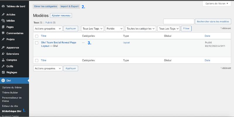 Importer les modules dans la bibliothèque Divi