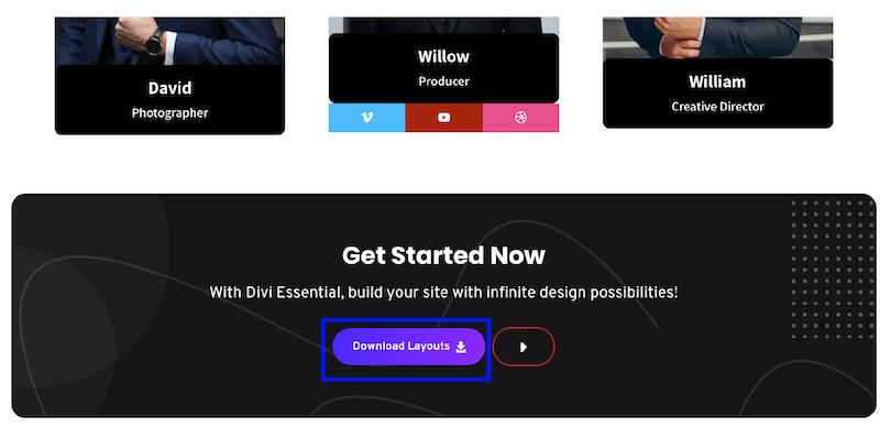 bouton télécharger layout divi essential