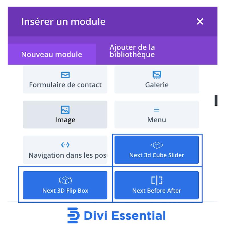 reconnaître les modules de divi essential