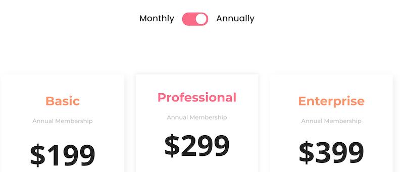 tarification au mois ou à l'année